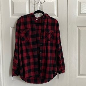 Red and Black Flannel with Hood